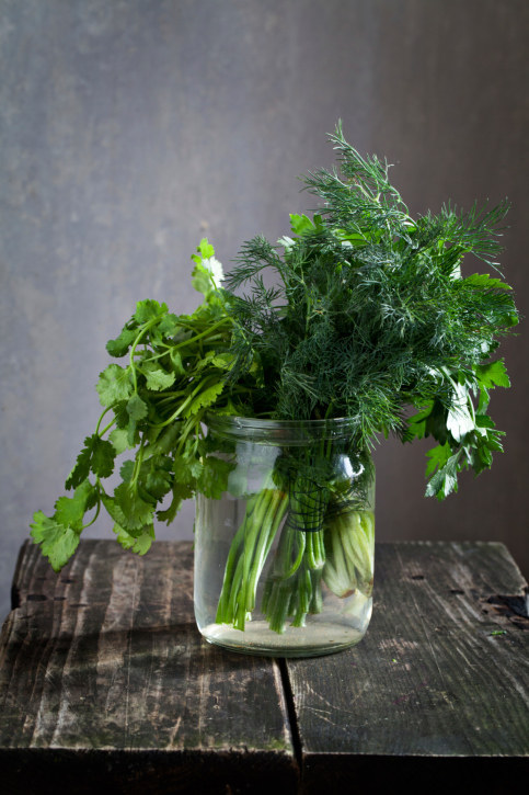 Put some leafy herbs in jars of water.