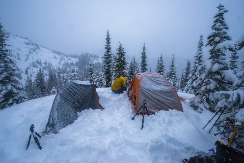 Camping on the Flanks of Mount Rainier - January, 2015