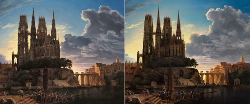 Mike Campau recreated a painting by Karl Friedrich Schinkel using only Adobe Stock images and Adobe Photoshop CC.
