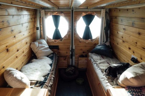 The completed mobile home was bohemian-chic.